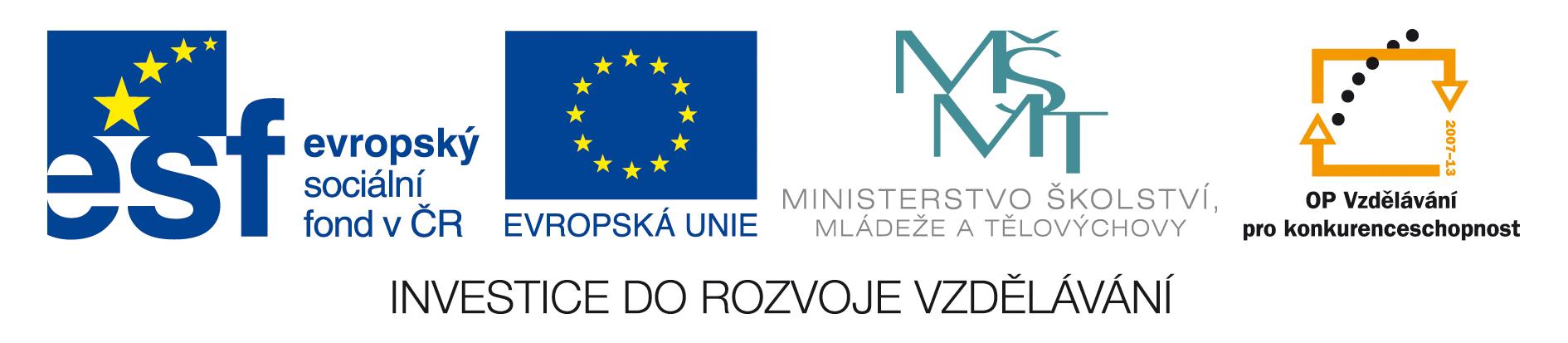 Evropský sociální fond v ČR |  Operační program Vzdělávání pro konkurenceschopnost - www.esfcr.cz